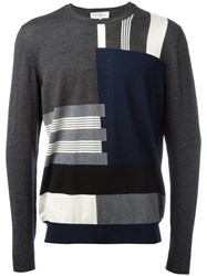Salvatore Ferragamo Patterned Stripe Jumper Grey