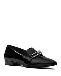Michael Kors Lennox Spazzolato Leather Loafers Black Silver