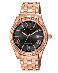 Citizen 40Mm Rose Golden Bracelet Watch Black