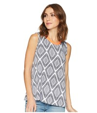 Tribal Printed Jersey Sleeveless Cami With Fringe Neckline Deep Sky Blue