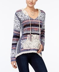 American Rag Crochet Trim Hooded Sweater Only At Macy's Bleached Denim Combo