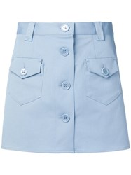 Red Valentino Button Through Mini Skirt Blue