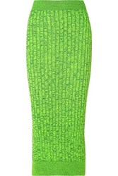 Maison Martin Margiela Mm6 Space Dyed Ribbed Knit Pencil Skirt Chartreuse