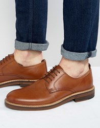 Asos Derby Shoes In Tan Leather With Natural Sole Tan