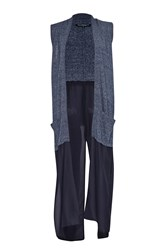 French Connection Emma Marl Long Sleeveless Cardigan Blue