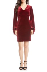 Karen Kane Velvet Tie Sleeve Dress Wine