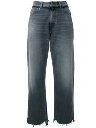 Golden Goose Deluxe Brand Cropped Stonewashed Jeans Women Cotton 25 Grey