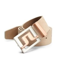J. Lindeberg Golf Two Toned Buckle Leather Belt White