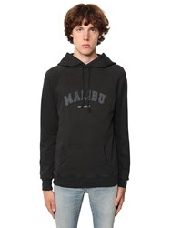 Saint Laurent Logo Malibu Print Cotton Jersey Hoodie Black