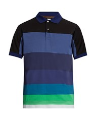 Paul Smith Striped Panel Cotton Jersey Polo Shirt Multi
