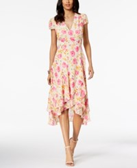 Betsey Johnson Floral Print Wrap Dress Pink Multi