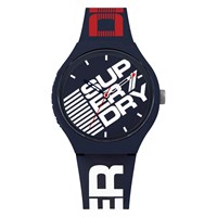 Superdry Men's Urban Extra Large Logo Silicone Strap Watch Blue White