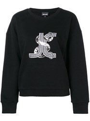 Just Cavalli Logo Snake Embroidered Sweatshirt Black