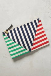 Anthropologie Clare V. Canvas Diagonals Pouch Red