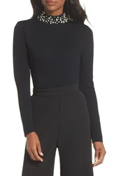 Eliza J Faux Pearl Embellished Mock Neck Sweater Black