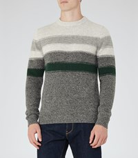 Reiss Tyler Mens Wool Stripe Jumper In Green