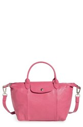Longchamp 'Le Pliage Cuir' Leather Handbag Pink Peony