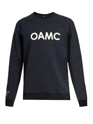 Oamc Leather Applique Cotton Blend Sweatshirt Navy Multi