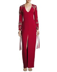 Monique Lhuillier V Neck Embroided Sleeve Gown Red