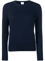 Barrie Ribbed Neck Jumper Blue