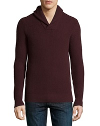 Michael Kors Shawl Collar Cashmere Blend Sweater Burgundy