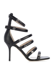 Christopher Kane Crystal Embellished Multi Strap Leather Sandals