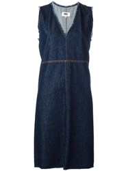 Maison Martin Margiela Mm6 V Neck Denim Dress Blue