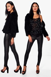 Boohoo 2 Pack Basic Wet Look Leggings Black