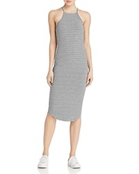 Lna Stripe Rib Knit Tank Dress Grey Black