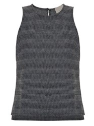 Framed Striped Tweed Tank Top Grey