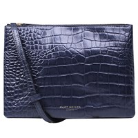 Kurt Geiger Pisces Leather Pouch Clutch Bag Croc Navy