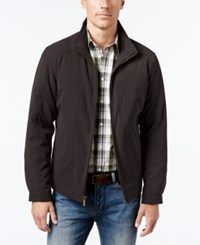 London Fog Men's Knit Trim Microfiber Jacket Dark Brown