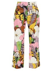 La Doublej Hendrix Floral Print Cotton Blend Trousers Multi