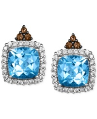 Le Vian Blue Topaz 8 1 2 Ct. T.W. White Sapphire 3 4 Ct. T.W. And Chocolate Quartz 1 5 Ct. T.W. Stud Earrings In 14K White Gold