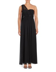 Jessica Simpson Ruched One Shoulder Gown Black