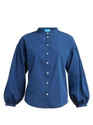 Mih Jeans M.I.H Colt Band Collar Cotton Chambray Shirt Navy