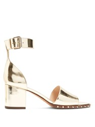 Valentino Soul Rockstud Leather Sandals Gold