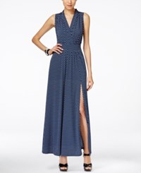 Michael Kors Alston Printed Front Slit Maxi Dress Royal