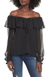 Wayf Women's Kiere Ruffle Off The Shoulder Top Black