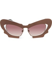 Prabal Gurung Pg1 Sculptural Mask Cat Eye Sunglasses Chocolate And Maroon