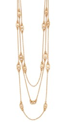 Tory Burch Gemini Link Multi Strand Necklace Shiny Gold