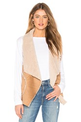 Bb Dakota Easily Suede Faux Fur Vest Tan