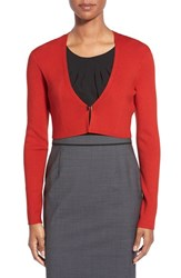 Women's Boss 'Filirona' Crop Cardigan Brick Red