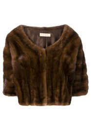 Liska Boat Neck Cropped Fur Jacket Brown