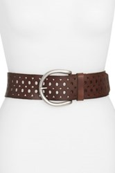 Lucky Brand Cutout Leather Belt Brown