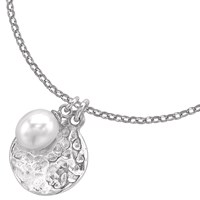 Dower And Hall Pearlicious Disc Pearl Pendant Necklace Silver