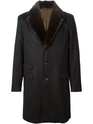 Colombo Mink Fur Collar Coat Black