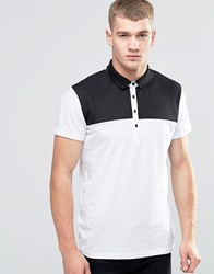 Jack And Jones Polo Shirt With Quilted Yoke Panel White