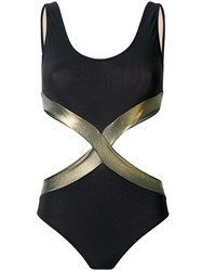 Zeus Dione Hourglass Cut Out Swimsuit Black