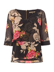 Biba Floral Printed Overlay Blouse Multi Coloured Multi Coloured